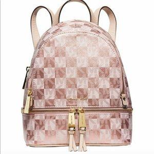 "Michael Kors ""Rhea Zip""  Gold Backpack"